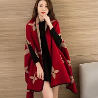 时尚披肩斗篷外套女外搭加厚办公室冬季百搭保暖围巾两用韩版秋冬披风