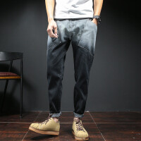 哈伦牛仔裤男 宽松夏季青少年渐变色多口袋大码九分裤男士牛仔裤