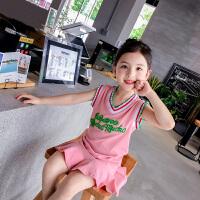 女童背心裙 2018新款儿童夏装连衣裙 韩版中长款T恤裙 洋气裙子 粉红色 现货