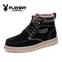 花花公子雪地靴冬季男靴加绒英伦时尚户外保暖中筒靴子男潮 征-CX39151M