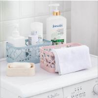 浴室长方形塑料沥水收纳筐素色镂空桌面收纳篮化妆品收纳盒