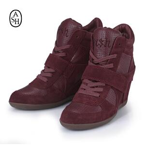 ASH艾熙 BOWIE 高帮真皮休闲坡跟红色透气内增高女鞋93681