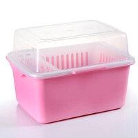 家英带盖欧式沥水碗架/餐具收纳盒-浅粉色(A241-8)