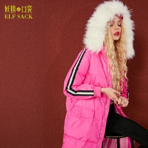 【尾品汇大促】妖精的口袋沉睡潜能冬装新款长款宽松毛领织带拼贴羽绒服女