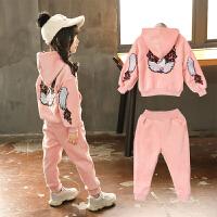 儿童卫衣套装秋冬装宝宝韩版运动金丝绒两件套女童衣服潮