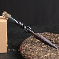 龙泉百炼花纹钢纯手工普洱茶刀大马士革专用茶针茶具配件茶锥套装