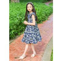 儿童夏天裙子中大童荷叶领碎花无袖连衣裙韩版文艺公主女童沙滩裙