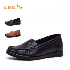 红蜻蜓新款纯色简约百搭一脚蹬休闲鞋单鞋