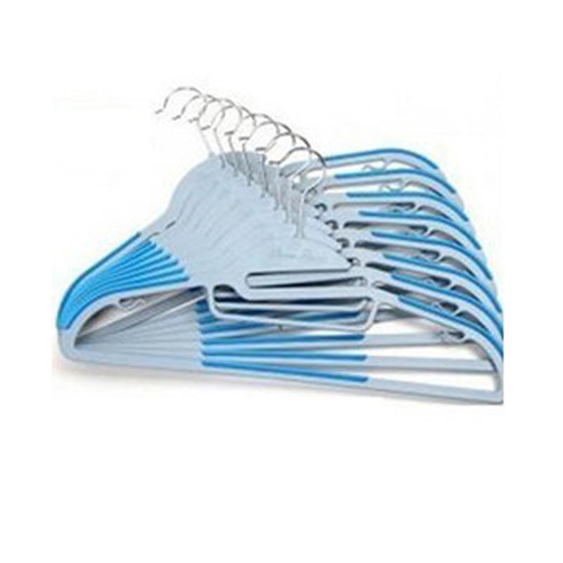 干湿两用防滑衣架 创意塑料魔术晾晒衣服挂架 衣撑衣服架 晾晒衣架 衣挂 蓝色10个衣架