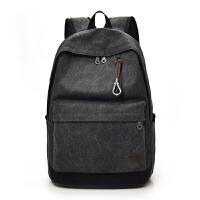 双肩帆布背包初高中大学生书包男女旅行李大容量时尚潮流韩版电脑 黑色 牛仔黑