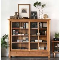 北欧实木家具简约现代玻璃门书柜餐边柜美式乡村储物柜酒柜 双门