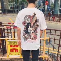 情侣夏装短袖T恤男潮印花日系复古嘻哈风学生体恤衫