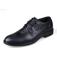 男士鳄鱼纹皮鞋尖头商务正装男鞋系带增高婚鞋青年英伦时尚休闲白领小码36码男皮鞋