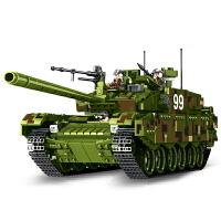 军事积木模型玩具 塑料立体拼插99式主战坦克 益智拼装男孩儿童玩具节日礼物 632002【主战坦克】