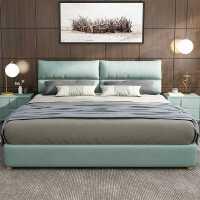 北欧床轻奢ins床现代简约布艺床双人床主卧小户型软包布床可拆洗