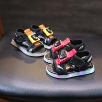 夏季儿童女童闪灯凉鞋男孩2亮灯1-5岁半男童4宝宝沙滩鞋3