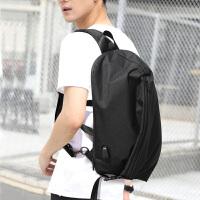 男士单肩包韩版大容量斜挎电脑背包潮男青年书包休闲旅行包包胸包 黑灰