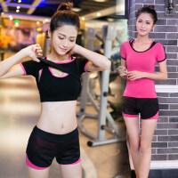 健身房运动套装女跑步服健身服三件套瑜伽服短裤速干紧身衣
