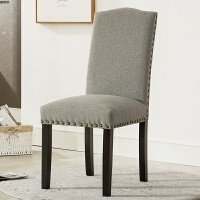 餐椅美式实木软包北欧靠背椅子 欧式复古轻奢餐厅用布艺凳子