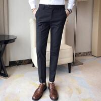 秋季男士休闲裤子西裤韩版修身小脚西装裤英伦潮流男装黑色长裤帅