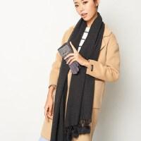 学生加厚围巾女韩版 粉色兔毛球纯色女生围巾女冬季