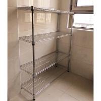 长90厨房置物架宽35四层不锈钢色家用微波炉架收纳架落地蔬菜锅架