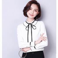 白色雪纺衫女长袖系带户外新品网红同款新款韩版蝴蝶结小清新上衣学生衬衣