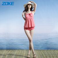 ZOKE游泳衣显瘦泳衣女小胸聚拢分体裙式遮肚保守韩国大码平角泳装