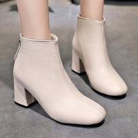 时尚方头百搭中筒女靴子 新款高跟鞋女士英伦风马丁靴女 韩版拉链粗跟短靴女