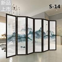 新中式屏风隔断客厅简约现代装饰办公室移动折叠实木半透明折屏定制