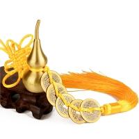 铜葫芦风水摆件纯铜小号手把件葫芦五帝钱家居饰品挂件