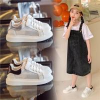 女童小白鞋夏季男童白色网面透气休闲板鞋儿童运动鞋