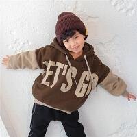 男童带帽卫衣冬季2017新款韩版儿童加绒外套加厚冬装套头宽松潮
