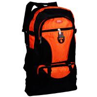 韩版超大容量双肩帆布包 电脑包 旅行背包男女潮包80L大号登山包 桔色 大容量旅行包桔色