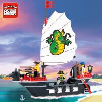 一号玩具 启蒙乐高式玩具小颗粒拼装积木拼插模型6-10岁儿童益智玩具海盗系列301