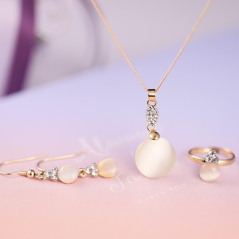 梦 梵雅施华洛世奇水晶元素3件套猫眼石石戒指项链耳钉