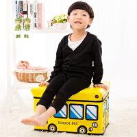 儿童玩具收纳凳储藏凳换鞋凳储物凳子可坐人衣服收纳箱盒多功能宝宝卡通整理箱 大号黄色巴士