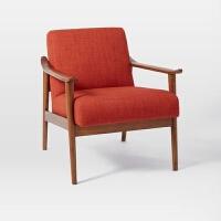 北欧实木单人沙发椅现代简约卧室阳台布沙发日式客厅咖啡厅休闲椅