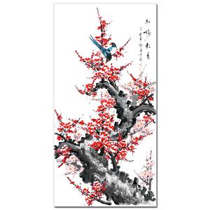 纯手绘四尺花鸟 张雪兰《红梅报春》客厅中堂玄关装饰画