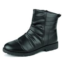 英伦高帮鞋短靴黑色休闲鞋户外靴冬季套筒圆头平跟韩版沙漠靴男马丁靴保暖加绒男靴机车靴潮男
