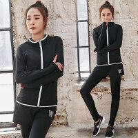 特大码运动套装女长袖瑜伽服外套胖妞健身房两件套女速干跑步套装