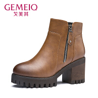 【到手109】戈美其冬季新款复古粗跟时装靴擦色短筒棉靴圆头靴子欧美时尚女鞋