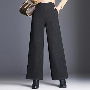 气质毛呢阔腿裤子女秋冬新款简约时尚宽松显瘦高腰休闲长裤女