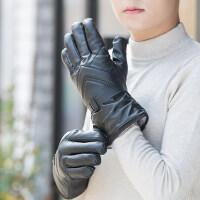 户外骑车男士手套 摩托车骑行防寒加绒手套 加厚保暖防水防风男士皮手套