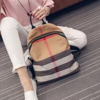 2018新款女包韩版时尚休闲双肩包牛皮帆布包配真皮旅行包大书包潮