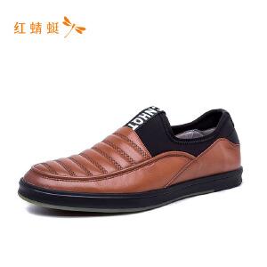 【专柜正品】红蜻蜓男时尚拼接英伦男单鞋