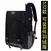 背包双肩包男大容量休闲男旅行包户外登山旅游包女65L包行李包 黑色 现货