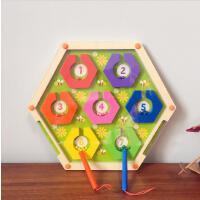 俄罗斯木质迷宫滚珠玩具运笔磁性迷宫 数字 走珠亲子游戏益智玩具