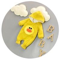婴儿连体衣秋冬加厚抓绒新生儿衣服冬季3-6-9个月卡通哈衣爬服潮