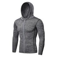 健身服男高弹运动连帽拉链衫长袖速干篮球服跑步外套夜光紧身衣 灰色 灰色连帽衫